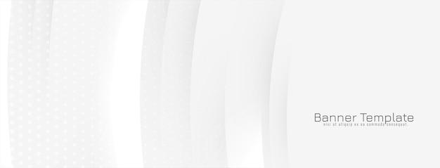 빛나는 물결 선으로 추상 흰색 배너 배경 무료 벡터