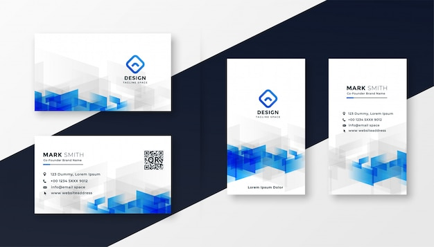 Abstract white and blue business card template set Free Vector