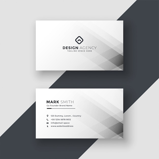 Abstract white business card design Free Vector