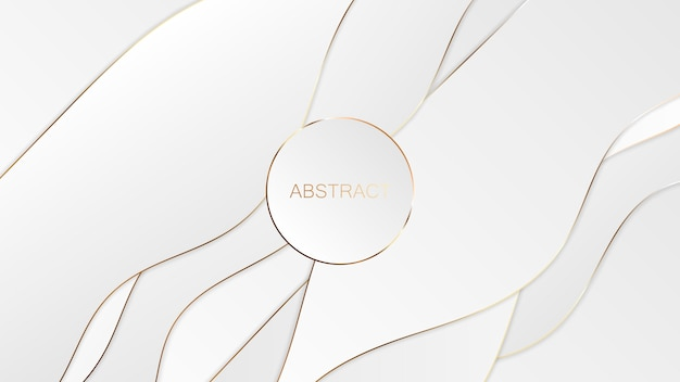 Abstract white gold luxury background. Premium Vector