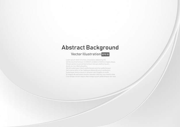 Abstract white and gray curve background Premium Vector