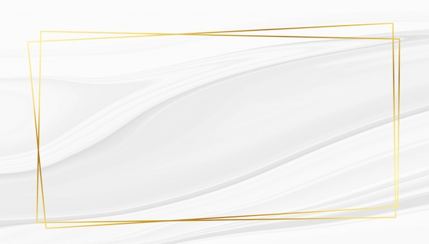 Abstract white marble texture with golden frame Free Vector