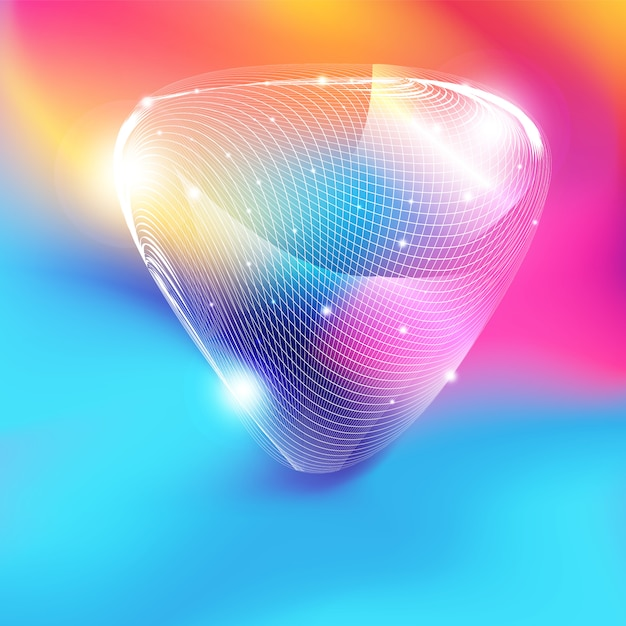 Abstract white mesh triangle shape with glitter on colorful gradient background Premium Vector