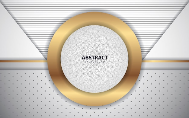 Abstract white overlap layers background with golden decoration Premium Vector