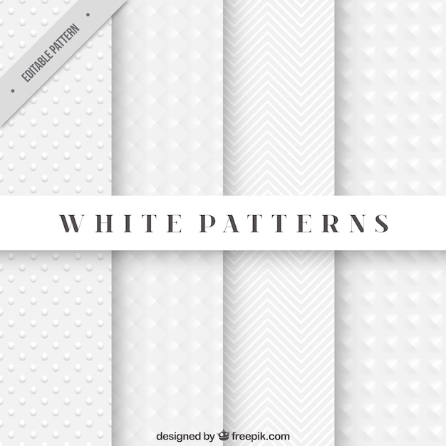 Abstract white patterns Free Vector