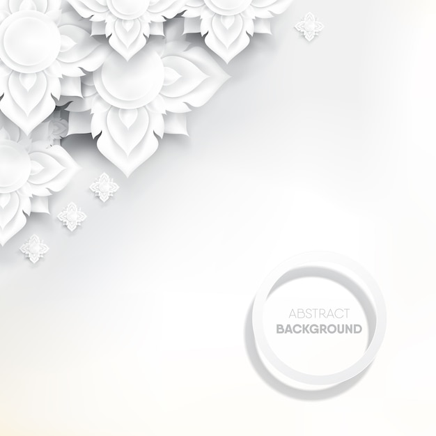Abstract white thai flower on white background. Premium Vector