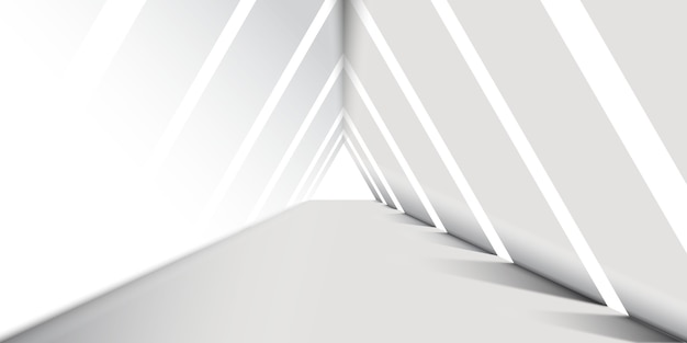Abstract white  triangle corridor background Free Vector