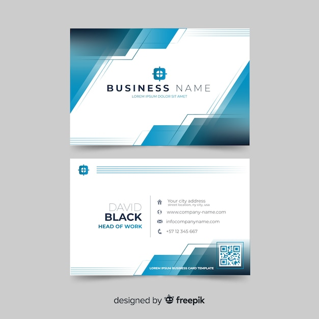 Abstract white visiting card with blue shapes template Free Vector