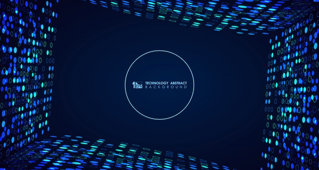 Abstract wide blue technology circle dots background Premium Vector