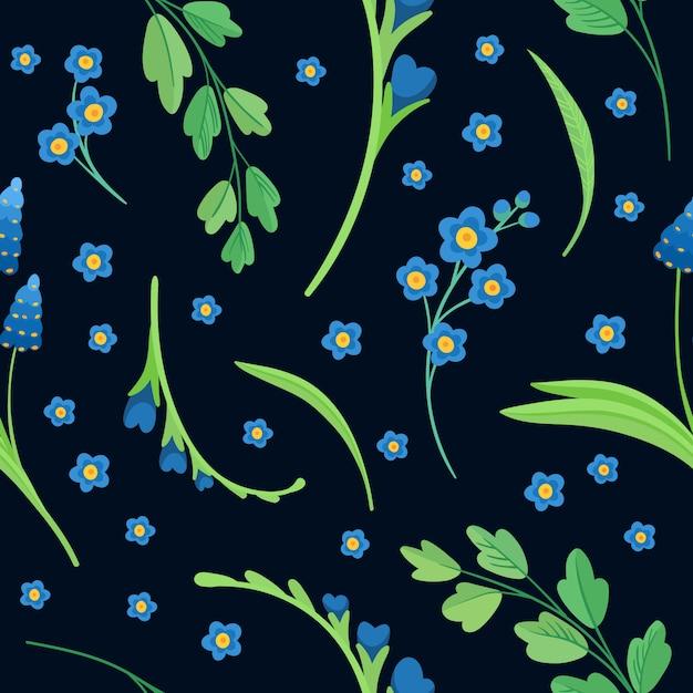 Абстрактные полевые цветы на синем фоне. синие цветы цветут плоские ретро бесшовные модели. ромашка и василька декоративный фон. цветущий луг полевых цветов. Бесплатные векторы