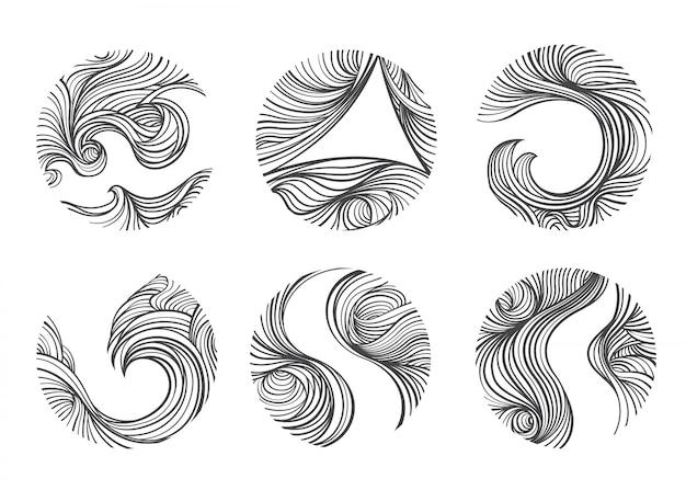 Abstract windy line set. Premium Vector