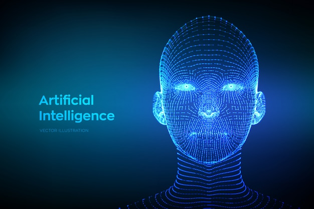 Abstract wireframe digital human face. ai. artificial intelligence concept. Premium Vector