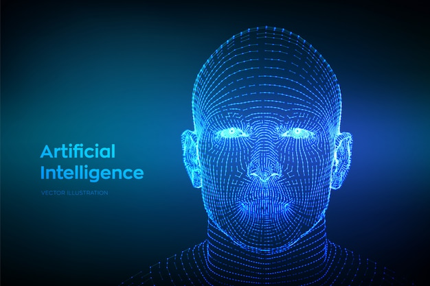 Abstract wireframe digital human face. human head in robot digital computer interpretation Premium V