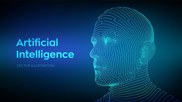 Abstract wireframe digital human face. Premium Vector