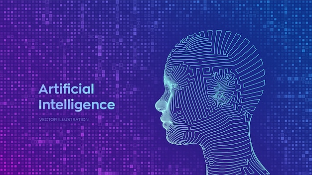 Abstract wireframe digital human female face on streaming matrix digital binary code background. ai. artificial intelligence concept. Free Vector