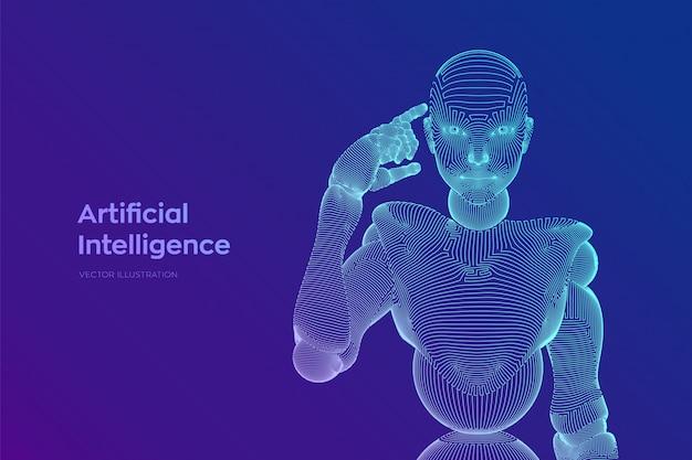 Абстрактный каркасный женский киборг или робот держит палец возле головы и думает или вычисляет, используя ее искусственный интеллект. ии и технология машинного обучения. иллюстрации. Premium векторы