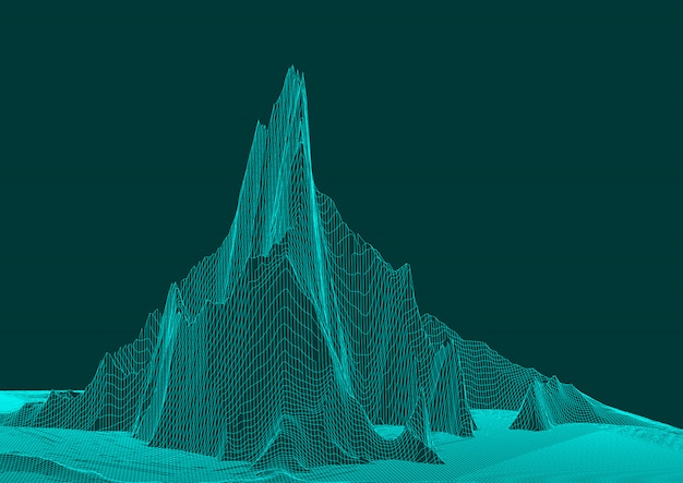 Abstract wireframe landscape design Free Vector