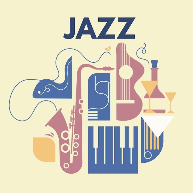 Abstract with line art jazz and music instrument Premium Vector