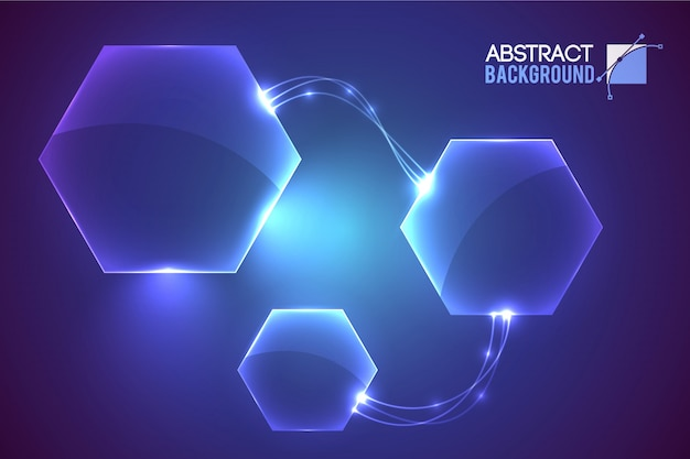 Abstract with modern virtual interface empty hexagon shaped elements conected Free Vector