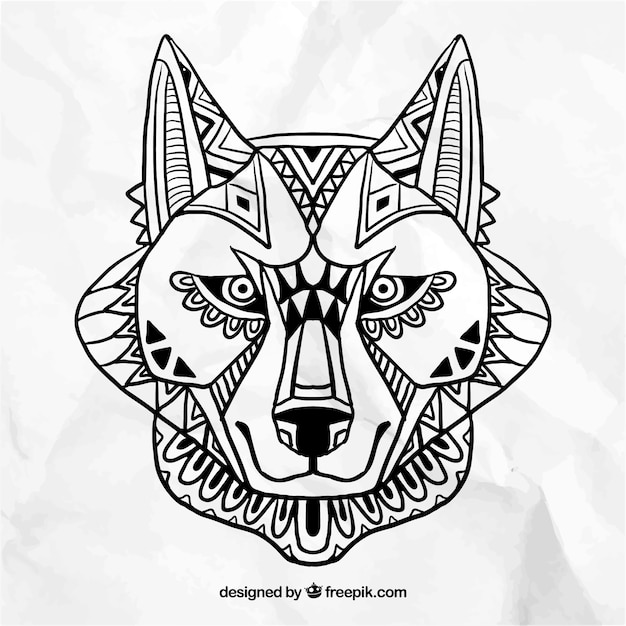 Abstract Wolf Face Vector Free Download