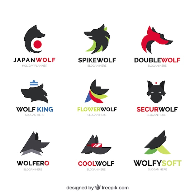 abstract wolf logo collection vector free download
