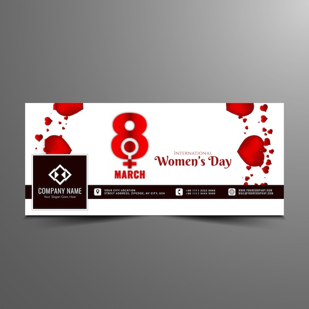 Abstract Women's day facebook banner template Vector | Free Download