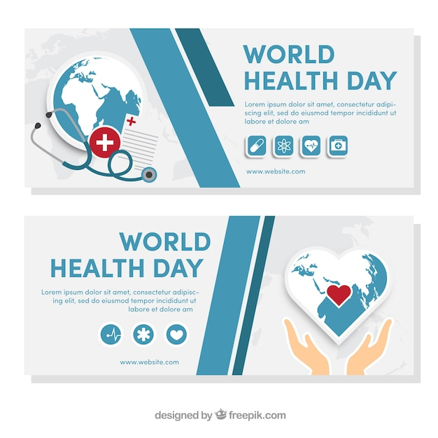 Abstract world health day banners