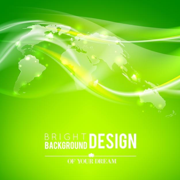 世界地図を抽象化し、緑の背景を照らします。 無料ベクター