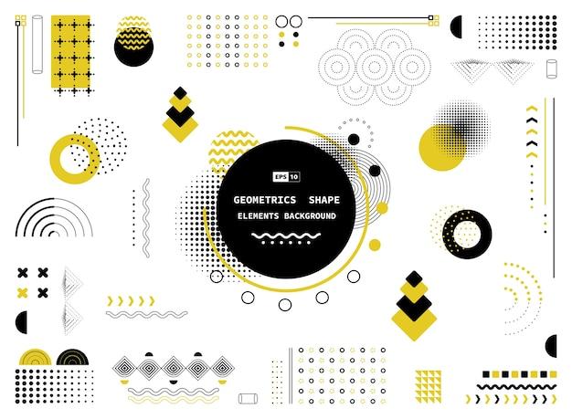 モダンな要素の抽象的な黄色と黒の幾何学的形状。 Premiumベクター