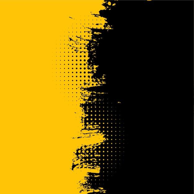 抽象的な黄色と黒のグランジ汚れたテクスチャ背景 無料ベクター