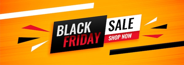 Abstract yellow black friday sale shopping banner design Free Vector
