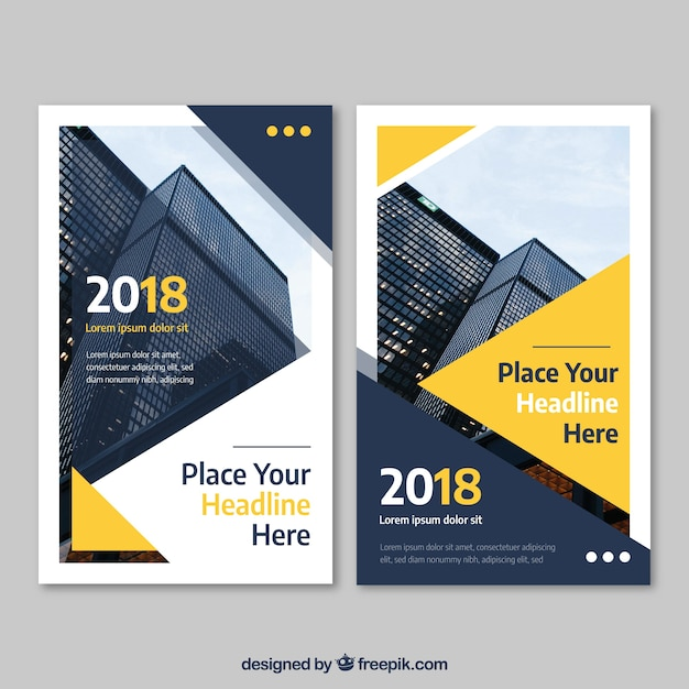 Abstract yellow business flyer template Free Vector