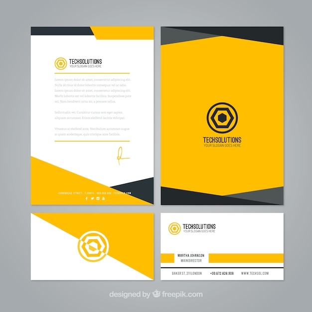 Letterhead Envelopes: Abstract Yellow Business Stationery Vector