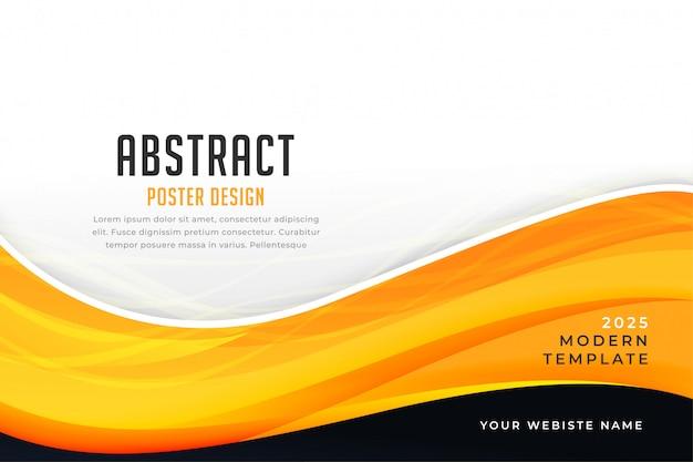 Modello giallo astratto di presentazione dell'onda di stile di affari di colore Vettore gratuito