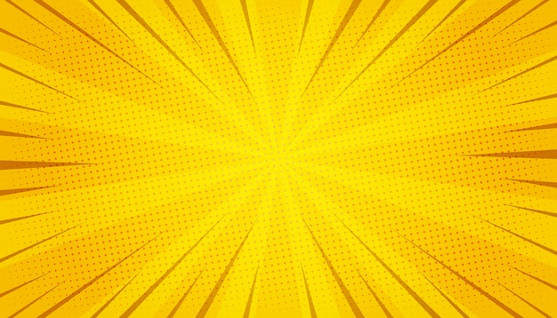 Abstract yellow comic zoom Free Vector