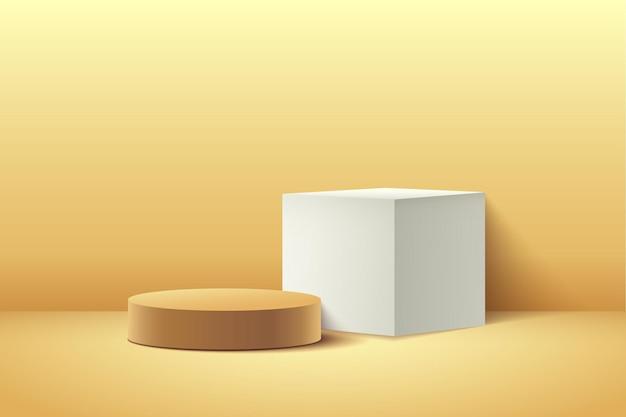 제품에 대한 추상 노란색 큐브 및 라운드 디스플레이. 프리미엄 벡터