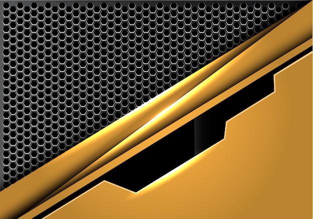 六角形のメッシュの背景に抽象的な黄金の黒いプレート。 Premiumベクター