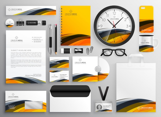 Abstract yellow modern brand identity business Free Vector