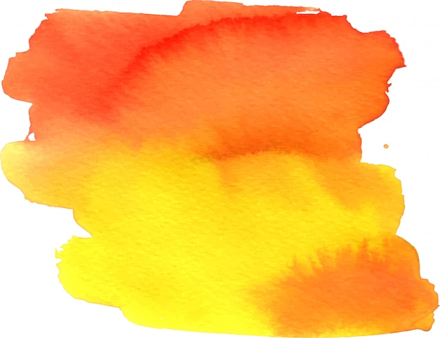 Abstract yellow-orange watercolor painted spot with blotches Premium Vector