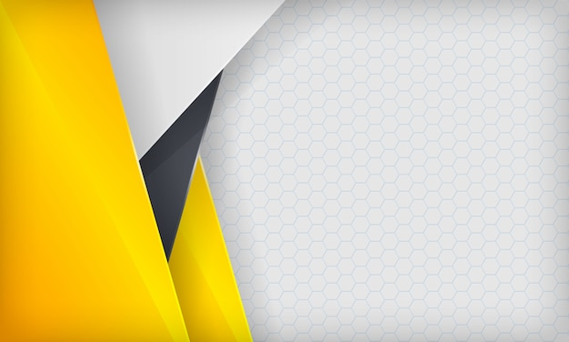 Abstract yellow, white and black overlap background. modern  template. Premium Vector