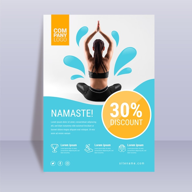 Abstract yoga poster template Free Vector