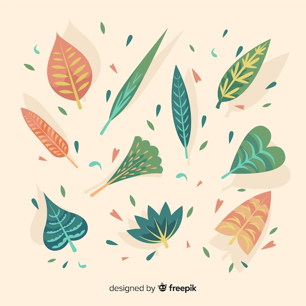 Abstractc flowers and leaves collection background Free Vector