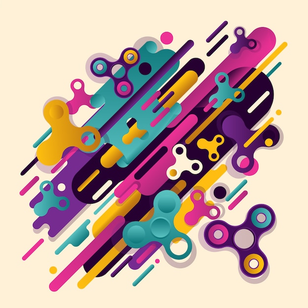 Abstraction spinner. original beautiful combination of abstraction of modern style Premium Vector