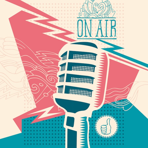 Abstraction with microphone Premium Vector