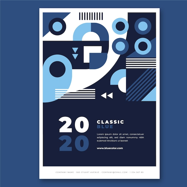 Abstratc classic blue poster template concept Free Vector