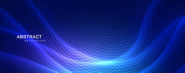 Abstrract blue wavy background with circular lines Free Vector