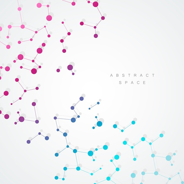 Abtract background with connected line and dots Premium Vector
