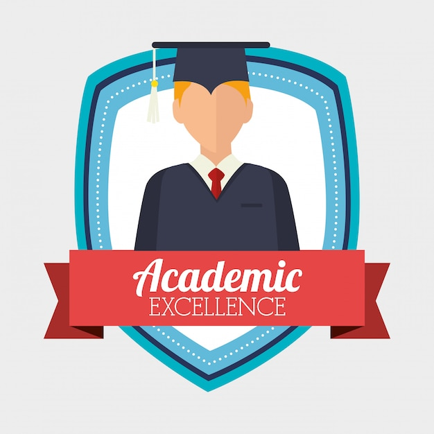Academic excellence illustration Free Vector