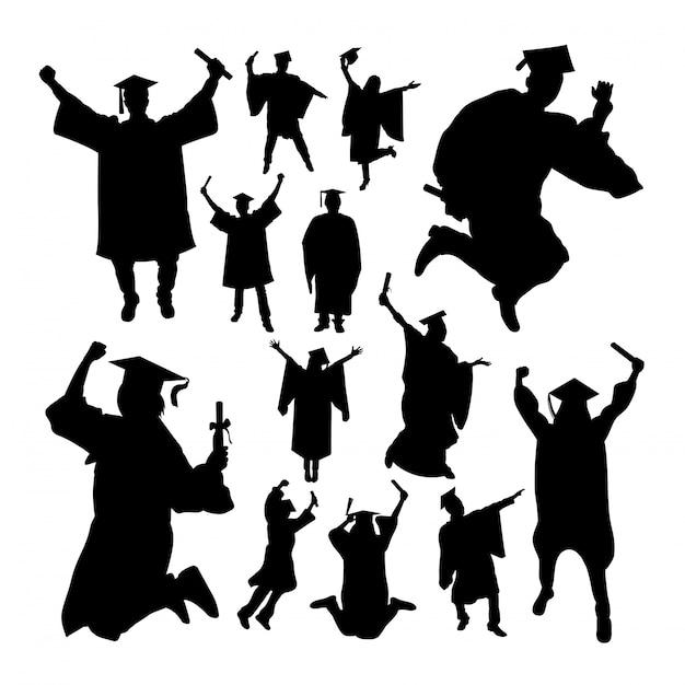 Academic graduation silhouettes Premium Vector