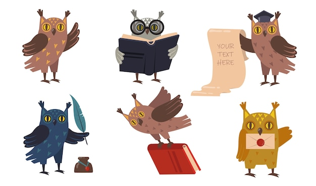 Academic owls set. cute cartoon birds in graduation caps with books. vector illustrations for education, college, school, knowledge concept Free Vector